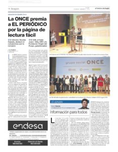 La ONCE premia las páginas de información en Lectura Fácil del periódico de Aragón