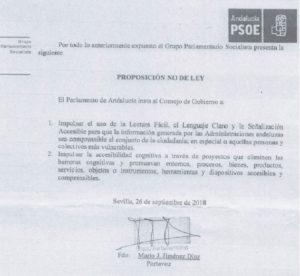 El Parlamento de Andalucía debatirá una Proposición No de Ley para la promoción de la Accesibilidad Cognitiva